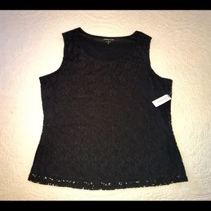 NWT Coldwater Creek black allover lace tank